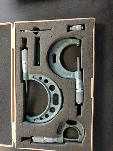 Mitutoyo Outside Micrometer Set 0 To 3 No 103 932 Carbide 0001