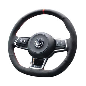Black Suede Leather Steering Wheel Red Stitch Wrap Cover Fit For Vw Golf 7 Gti
