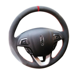 Black Suede Leather Steering Wheel Red Stitch Wrap Cover For Lincoln Mkx Mkc Mkz
