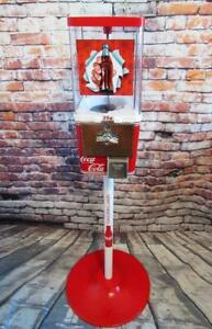 Coca cola gumball machine + metal stand