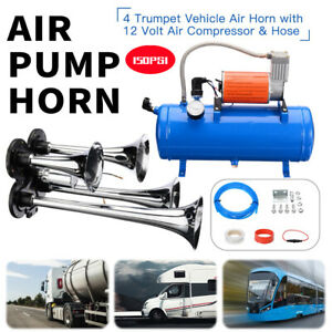 4 Trumpet Air Horn 12v Compressor Kit Blue Tank Gauge For Car Train Truck 150psi