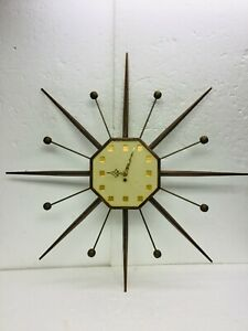 Mid Century Atomic Wall Clock Walnut Starburst Sunburst Sputnik Los Angeles 32