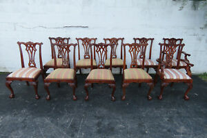 Chippendale Mahogany Hand Carved Set Of 10 Vintage Dining Room Chairs 9963