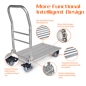 Folding Platform Cart Hand Trolley Truck With Brakes Flatbed Push Moving Dolly