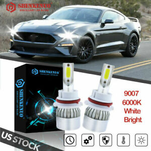 For 1999 2004 Ford Mustang Pair 9007 Hb5 Led Headlight High low Beam Bulbs 6000k