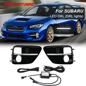 Led Fog Drl Light Bezels Cover Daytime Running Lamp For 2015 2017 Subaru Wrx Sti