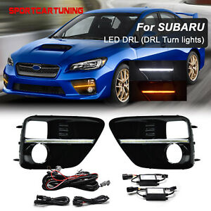 Amber White Led Fog Bezel Drl Lights Turn Signal Lamp For 2015 17 Subaru Wrx Sti