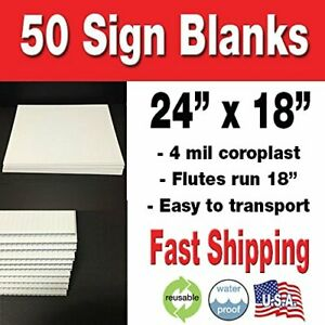Box Of 50 24 x18 Blank Lawn Signs White Corrugated Yard Signs political Signs