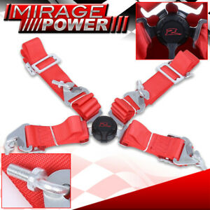 1x 4 point 2 Wide Nylon Strap Fast Release Racing Harness Camlock Seat Belt Red