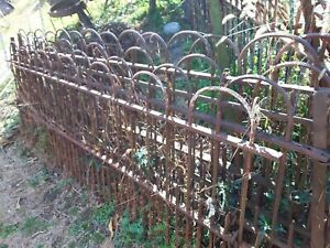 19th Century Wrought Iron Fence Sections 5 X 8ft X 3ft High