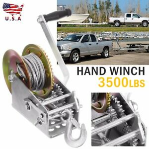 Hand Winch Dual Gear Hand Crank Manual Boat Atv Rv Trailer 33ft Cable 3500lbs