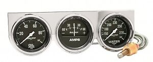Auto Meter 2395 Autogage Series 3 Gauge Console 2 5 8 Oil Amp Water Chrome