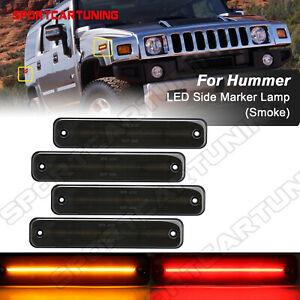 Smoked Led Side Marker Light Front Rear Fender Lamp For 2003 2009 Hummer H2 4pcs