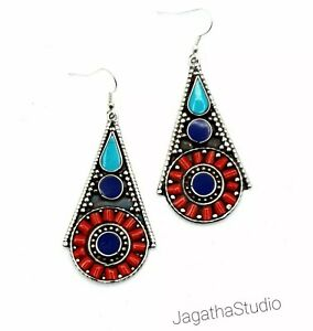 Ethnic Earrings Nepal Tibet Vintage Beautiful Coral Turquoise Bohemian Style