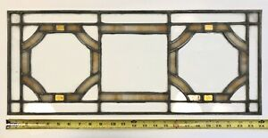 Vintage Leaded Stained Glass Window Panel 10x24