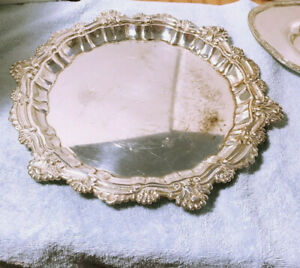 Silver Plate Tray Ornate Round