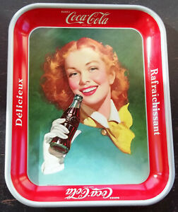 Vintage 1950 - 1952 Coca Cola Metal Tray Red Head Lady With Yellow Scarf-Canada