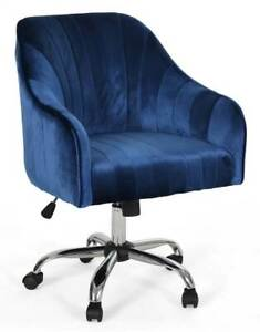 Glam Velvet Home Office Chair In Navy Blue And Silver Finish id 3922911