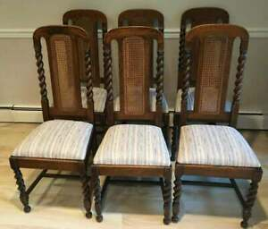 Vintage Set Of 6 Antique Oak Rope Twist Dining Chairs With Cane Ba