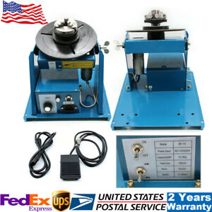 Mini 110v Rotary Welding Positioner Turntable Table 2 5 3 Jaw Lathe Chuck Set