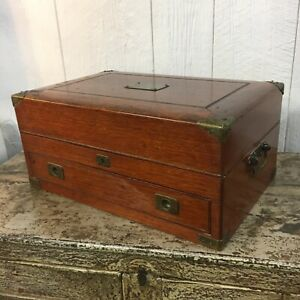 Antique Wooden Strong Box W Brass Accents Handles Sewing Silverware Chest