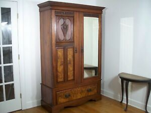 Antique Mirrored Armoire Wardrobe Cabinet 2