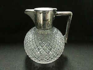 John Grinsell Sons Cut Crystal Claret Jug Decanter Pitcher Silver Plated Lid