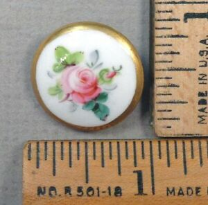 Mintons Porcelain Button 1800s Beautiful Painted Rose Flower Design