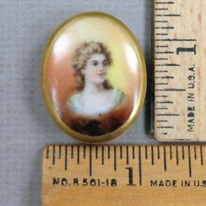 Victorian Woman 7 Hand Painted Porcelain Stud Style Button 1800s Large