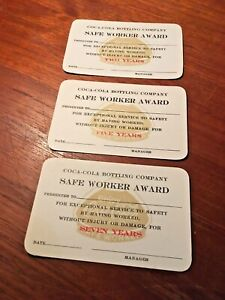 Coca-Cola 1960s Safe Worker Award Two, Five & Seven Year Service Cards NOS Mint!