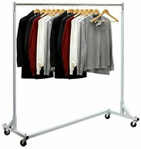 Simple Houseware Industrial Grade Z base Garment Rack 400lb Load With Silver