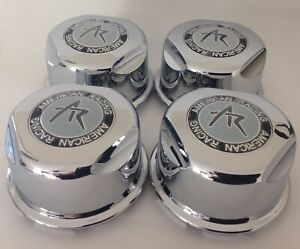 4 American Racing Plastic Chrome Snap In Center Caps 1307100s
