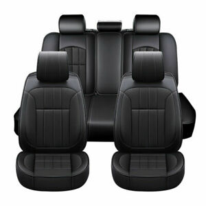 Luxury Leather Car Seat Cover Full Surround 5 Seat Back Headrest Cover Universal