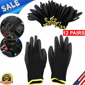 12 Pairs Nylon Pu Safety Palm Coating Work Gloves Carpenters Builders Protect S