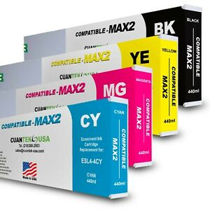 4 X 400ml Roland Ecosol Max2 Compatible Ink Cartridges Set Cmyk Made In Usa