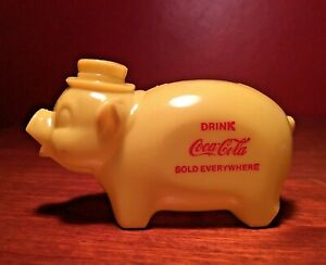 Coca-Cola 1950s Yellow Piggy Bank Sold Everywhere Plastic Mint NOS