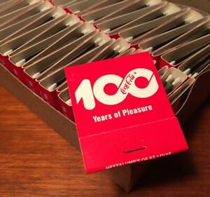 Coca-Cola 1986 100 Year Anniversary Box Of 49 Matchbooks Mint NOS!