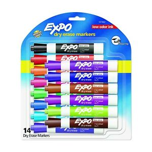 Expo Dry Erase Markers Chisel Tip Low Odor 14 Assorted Markers New In Pk 1974662