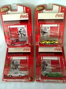 Johnny Lightning Coca Cola Sports cars lot of 4 68 chevy, 55 chevy 82 chevy