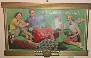 COCA-COLA KAY DISPLAYS WOOD FRAME W JOIN THE FRIENDLY CIRCLE CARDBOARD COKE SIGN