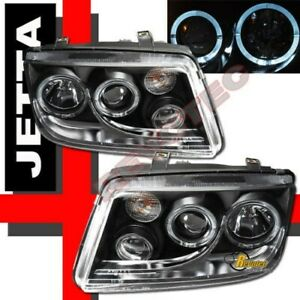 Black Dual Halo Angel Eyes Projector Headlights W Fog For 99 05 Vw Jetta Iv Mk4