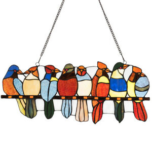 22 5 Stained Glass Birds Window Panel Tiffany Style Hanging Sun Catcher Decor