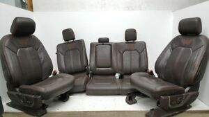 2011 2016 Ford F150 King Ranch Seat Set Front Rear Brown Leather Factory Oem