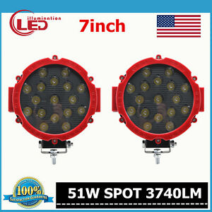 2x 7inch 51w Round Led Work Lights Spot Offroad Boat Atv 4x4wd Truck Lamp Slim