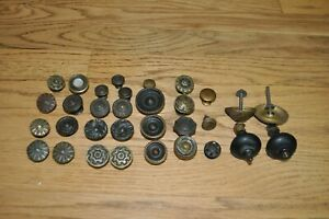 Lot Of 30 Antique Vintage Brass Drawer Pulls Cabinet Door Knobs