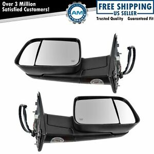 Tow Mirror Power Folding Heated Signal Memory Puddle Light Black Pair For Ram
