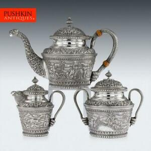 Antique 20thc Indian Karachi Cutch Solid Silver Tea Set J Manikrai C 1900