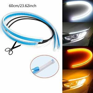 2 X 60cm Led Drl Slim Amber Sequential Flexible Turn Signal Strip For Headlight