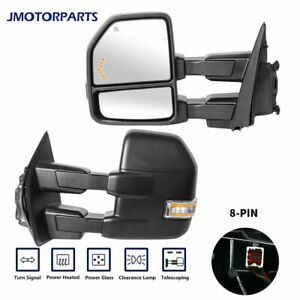 Pair 8 Pin Power Heated Towing Mirrors Turn Signal For 2015 2017 Ford F 150