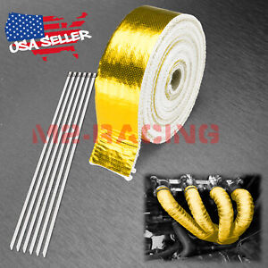 Gold Exhaust Pipe Insulation Thermal Heat Wrap 2 X 50 Motorcycle Header
